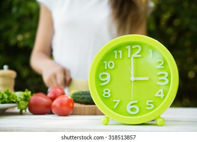 concept lunch time of fresh vegetables on background