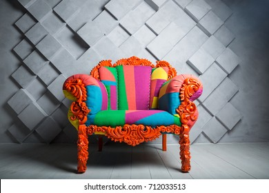 Concept of luxury and success with multi colored velvet armchair, royal place.