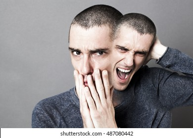 concept of madness, schizophrenia, mad bipolar behavior and anxiety with two-headed disturbed man screaming or expressing fear, grey background