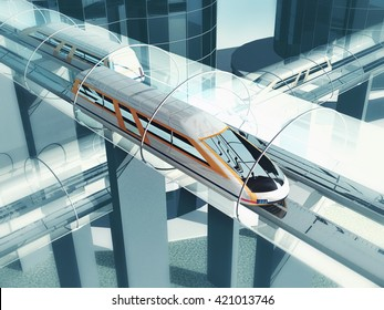 Concept of magnetic levitation train moving on the sky way in vacuum tunnel across the city. Modern city transport. 3d rendering illustration.