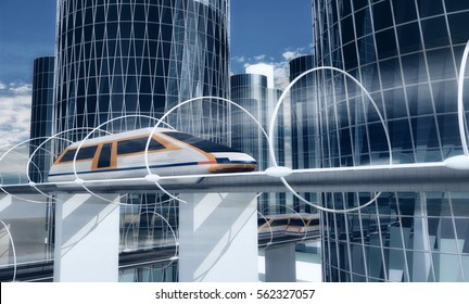 Concept of magnetic levitation train moving on the sky way in vacuum tunnel across the city. Modern city transport. 3d rendering illustration