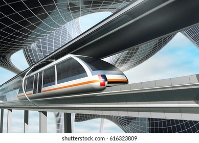 Concept of magnetic levitation train moving in glass tunnel across the futuristic city. Modern  transport. 3d rendering illustration