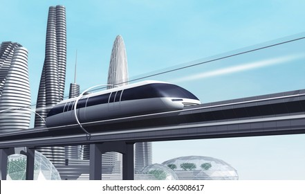 Concept of magnetic levitation train moving on the skyway in a vacuum tunnel across the city. Modern city transport. 3d rendering illustration.