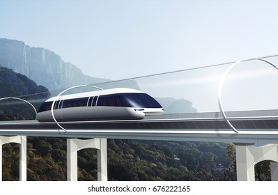 Concept of magnetic levitation train moving on the skyway in a vacuum tunnel across landscape with mountains. Modern transport. 3d rendering illustration