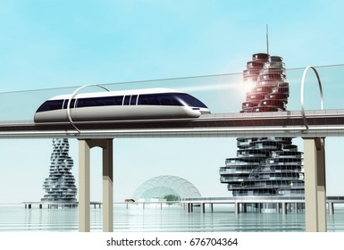 Concept of magnetic levitation train moving on the skyway in a vacuum tunnel across the city on the water. Modern city transport. 3d rendering illustration