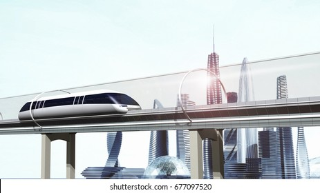 Concept of magnetic levitation train moving glass tunnel across the city. Modern city transport. 3d rendering illustration.