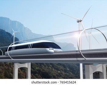 Concept of magnetic levitation train moving on the skyway in a vacuum tunnel across landscape with wind turbines and mountains. Modern transport. 3d rendering illustration