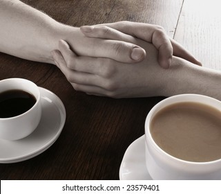 Concept of male and female hands, love and coffee