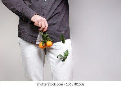 Concept of male sexual diseases. A man at the level of the genitals holds tangerines or oranges on a twig, from which the leaves fall off. Testicular cancer