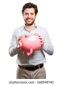 Concept of a man spending his savings