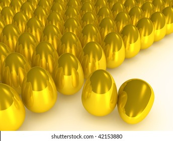 Concept of many golden eggs