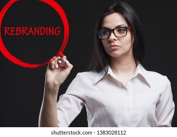 The concept of marketing, technology, the Internet and the network. A young businessman shows what is important for business: Rebranding
