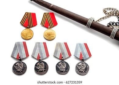 Concept May 9 St.Georges Ribbon medal award blade old photos. Victory Day. May 9