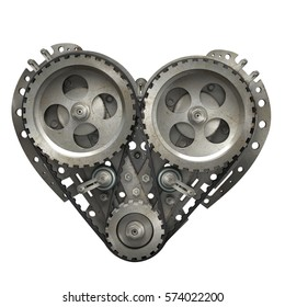 Concept Mechanical heart V8  isolated on white background. High resolution 3d render