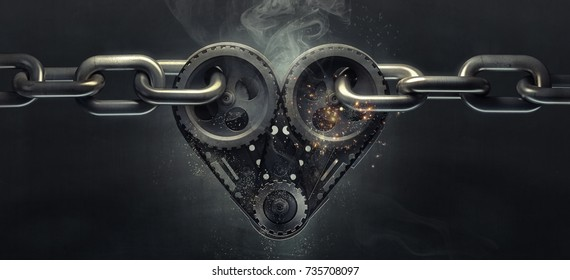 Concept Mechanical heart V8 on steel chain. High resolution 3d
