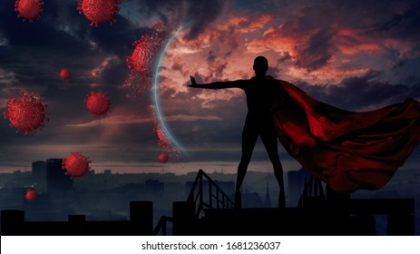 Concept of medical doctors fighting against global pandemic virus . Abstract silhouette portrait of young hero woman with super person red cape protect city from corona virus outbreak.