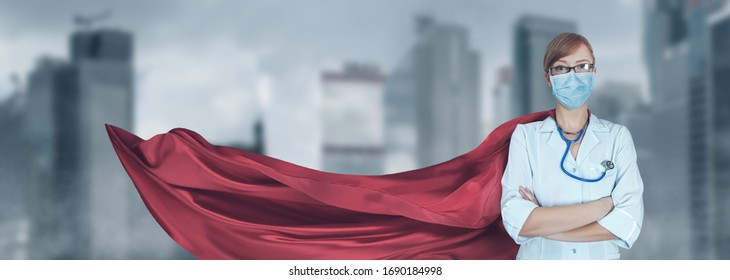 Concept of medical doctors fighting against global pandemic virus. Portrait of young hero woman with super person red cape and medical uniform and mask protect city from corona virus outbreak.