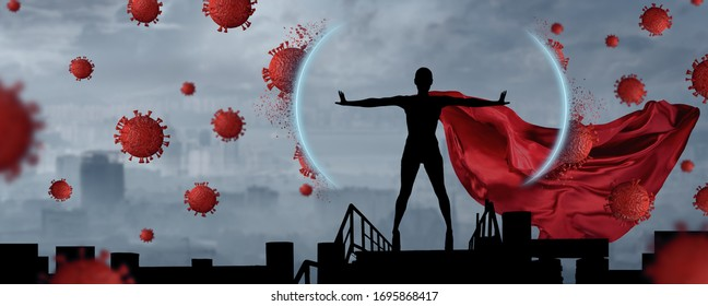 Concept of medical doctors fighting against global pandemic virus. Abstract silhouette portrait of young hero woman with super person red cape protect city from corona virus outbreak.