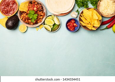 Concept of Mexican food, blue background, flat lay