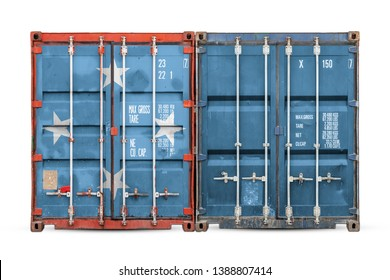 The concept of Micronesia  export-import and national delivery of goods. Close-up of the container with the national flag of Micronesia  on white isolated background.