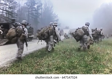 Concept. Military actions of defense and attack. Abstract, blurry, bokeh background, image for the background.