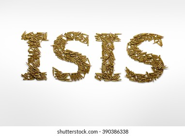 Concept of military aggression of ISIS. Word ISIS typed with font made of bullets on white background