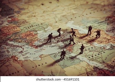 Konzept der militärischen Aggression im Nahen Osten.