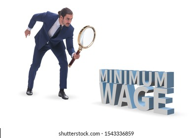 Concept of minimum wage with businessman