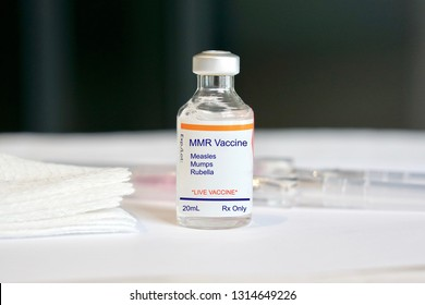 Concept of a MMR vaccine for Measles, Mumps, and Rubella as outbreaks occur resulting from anti-vaccination people