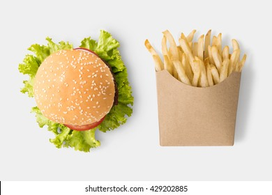 Concept of mock up burger and french fries on white background. Copy space for text and logo. Clipping Path included on white background.