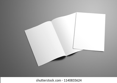 Concept mockup with two blank   A4, (A5) bi-fold brochure with soft shadows isolated on gray background. One booklet is closed and lie on open on the spread. Template can be used for your design.