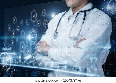 The concept of modern information technology in medicine. Doctor looking at virtual screen.