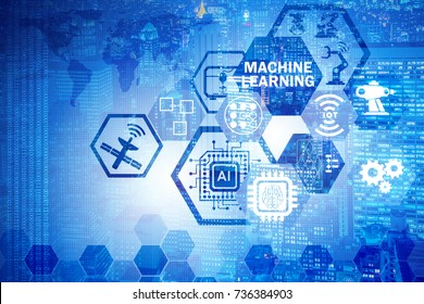 Concept of modern IT technology with machine learning
