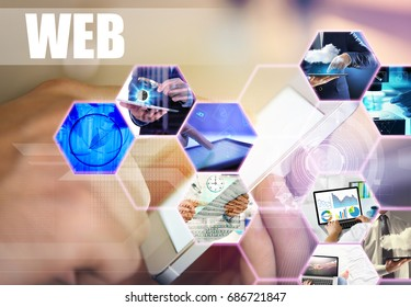 Concept of modern technology. People and gadgets connected with global internet network