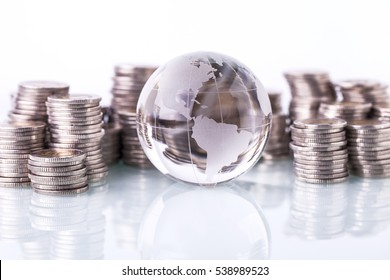 Concept of money around the world on white background