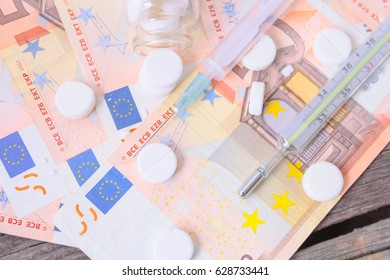 Concept of money corruption and pills
