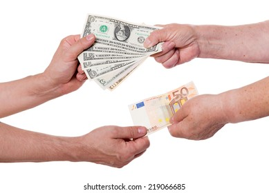 Concept money exchange dollars for euros