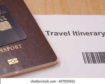 Concept Money with  Journey Travel  credit card passport and  travel itinerary.