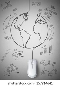 Concept of mouse connected with the world