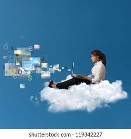 Concept of multimedia with a businesswoman over a cloud with a laptop