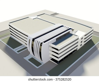 concept of multi-storey car park 3d isolated on white