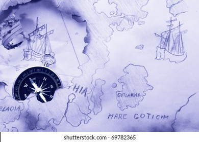 Concept. Myth about Bermuda Triangle and Flying Dutchman