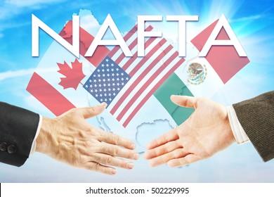 Concept of NAFTA. United States Canada Mexico trading association