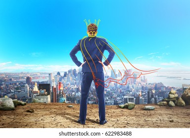 The concept of narcissism. A man in an imaginary crown and cloak looks at the city. The concept of egocentrism.
