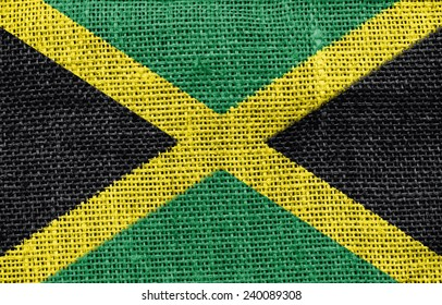 The concept of national flag on canvas background: Jamaica