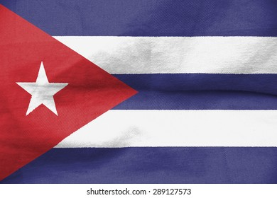The concept of national flag on canvas background: Cuba