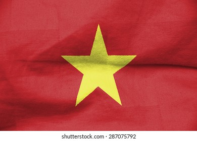 The concept of national flag on cotton canvas background: Vietnam