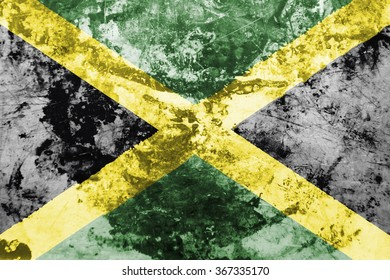 The concept of national flag on grunge oiled metal background: Jamaica