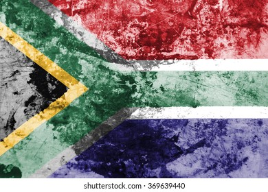 The concept of national flag on old rusty grunge background: SA