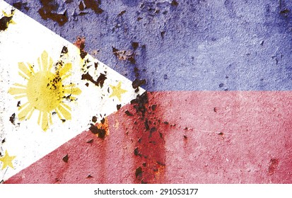 The concept of national flag on rusty metal texture: Phillipines